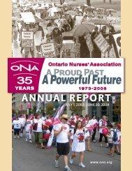 Annual Report: July 1, 2007- June 30, 2008 - Ontario Nurses ...