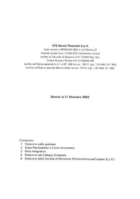 VFS Servizi Finanziari S.p.A. - Assilea