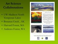 Art Science Collaborations - Center for Limnology - University of ...