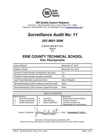 Surveillance Audit No: 11 - Ects.org