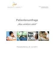 Patientenumfrage - Was wirklich zählt - Vinzenz Gruppe