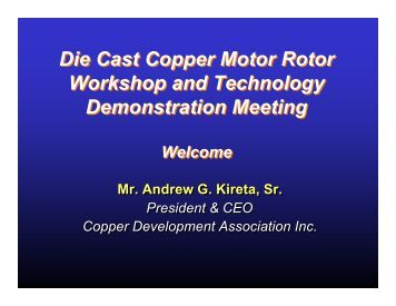 Die Casting Copper Rotors - Copper Development Association