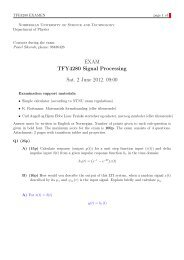 EXAM TFY4280 Signal Processing Sat. 2 June 2012. 09:00 - NTNU