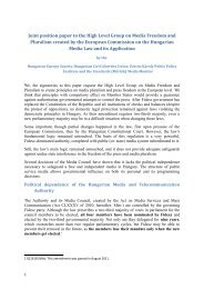 Joint position paper to the High Level Group on Media ... - TASZ