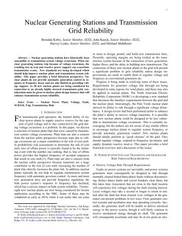 Nuclear Generating Stations and Transmission Grid Reliability