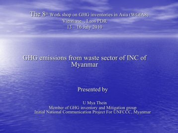 GHG emissions from waste sector of INC of Myanmar - GIO ...