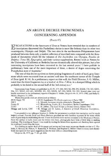 AN ARGIVE DECREE FROM NEMEA CONCERNING ASPENDOS