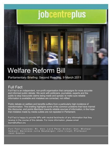 Welfare Reform Bill Briefing