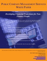 public company management services - Excellence in Financial ...