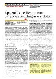 Epigenetik – cellens minne – påverkar ... - Läkartidningen