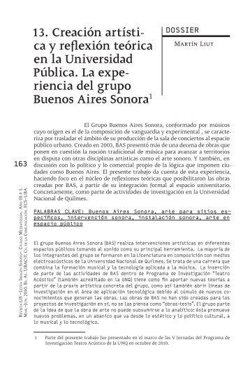 13. Creación artística y reflexión teórica en la Universidad Pública ...