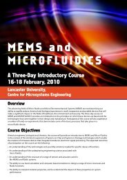 MEMS and MICROFLUIDICS - Lancaster University