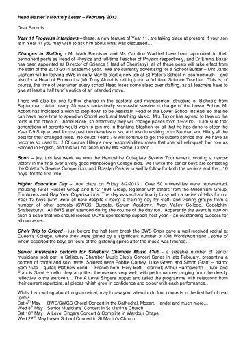 Head Master's Monthly Letter – February 2013 Dear Parents Year ...
