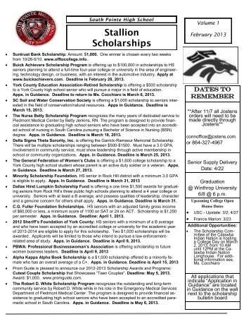 Stallion Scholarships - South Pointe High School