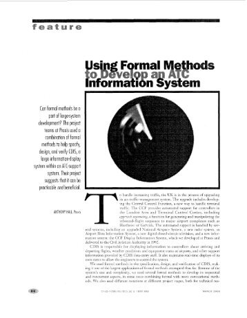 using formal methods to develop an atc information system - IEEE
