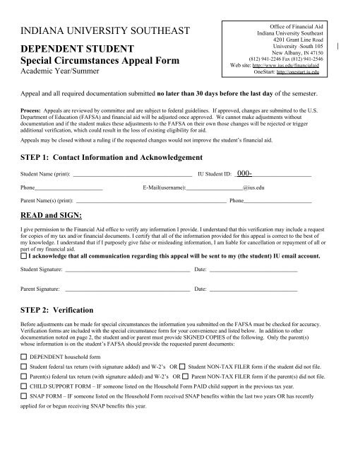 Special Circumstance Appeal Form - Indiana University Southeast