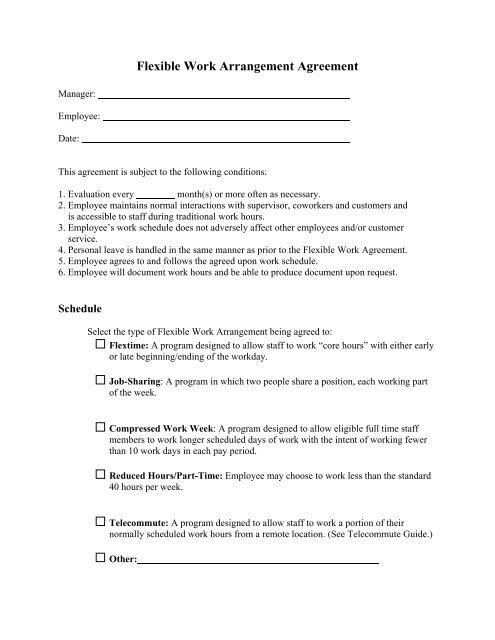 Flexible Work Arrangement Agreement Form
