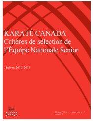 KARATÉ CANADA Critères de sélection de l ... - Karate Canada