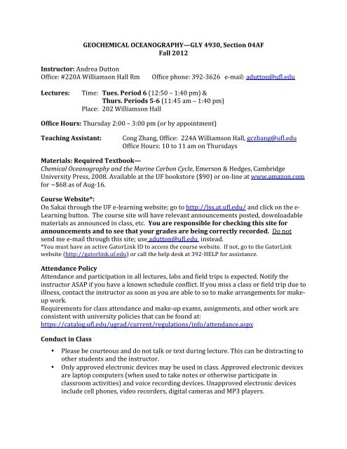 GLY 4930 Fall 2012 Syllabus - University of Florida