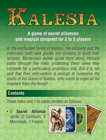 A game of secret alliances and magical conquest for 2 to 5 players ...