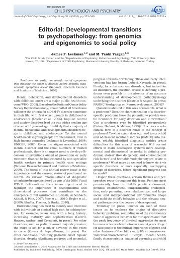 Editorial: Developmental transitions to psychopathology: from ...