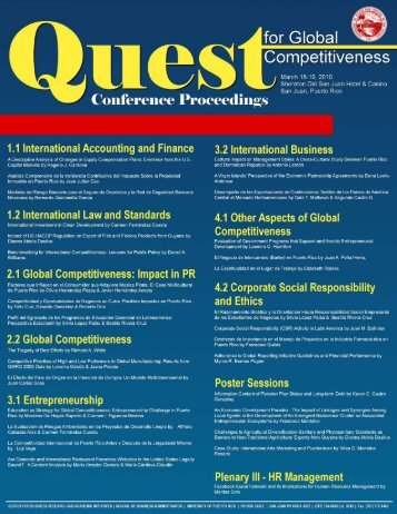 Abstract - Quest for Global Competitiveness - Universidad de Puerto ...
