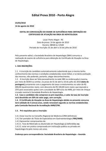 Edital Prova 2010 - Porto Alegre - Sociedade Brasileira de ...