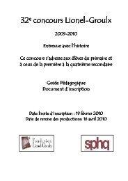 LIONEL-GROULX 2009-2010 GUIDE PÉDAGOGIQUE - Société des ...