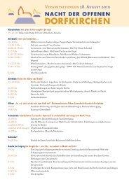Veranstaltungen 28. August 2010