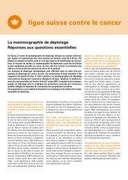La mammographie de dépistage Réponses aux ... - Ligue pulmonaire