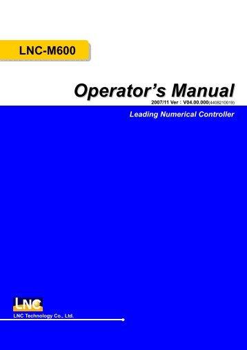 LNC-M600 Leading Numerical Controller Operator's Manual