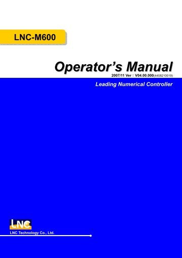 LNC-M600 Leading Numerical Controller Operator's Manual