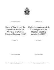 Règles de procédure de la Cour supérieure du Québec, chambre ...
