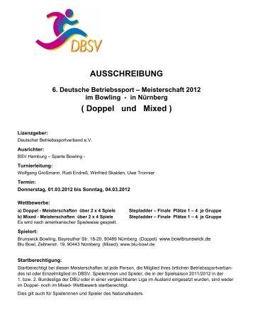 AUSSCHREIBUNG ( Doppel und Mixed ) - BKV