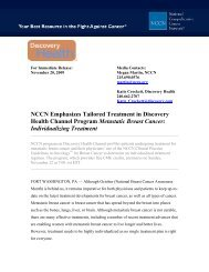 NCCN Emphasizes Tailored Treatment in Discovery Health Channel ...