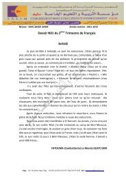 Devoir N01 du 2 Trimestre de Français - Groupement Scolaire Salim