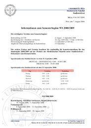 Informationen zum Semesterbeginn WS 2008/2009