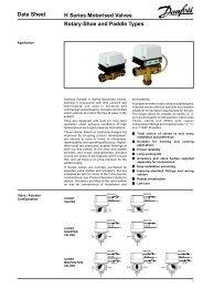 Data Sheet H Series Motorised Valves Rotary-Shoe and ... - Danfoss