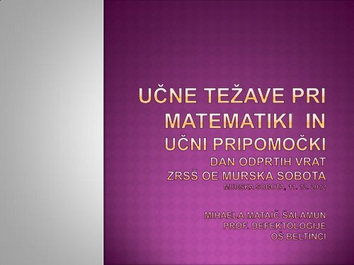 Učne težave pri matematiki, Mihaela Mataič Šalamun