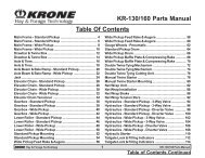 KR-130/160 Parts Manual Table Of Contents - Triple H Equipment, Inc.