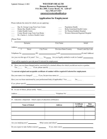 general application form western health - General Application Form