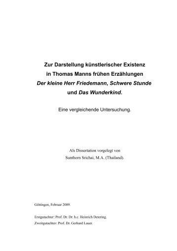 Zur Darstellung künstlerischer Existenz in Thomas Manns frühen ...