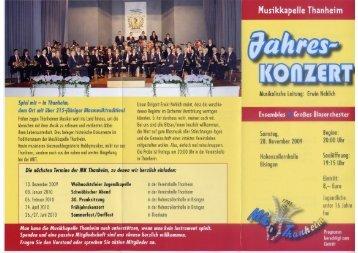 2009 Jahreskonzert Programm MK Thanheim