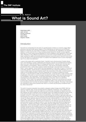 Aldrich-2003-What is Sound Art.pdf - An International Archive of ...
