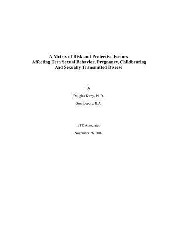 A Matrix of Risk and Protective Factors Affecting ... - ETR Associates