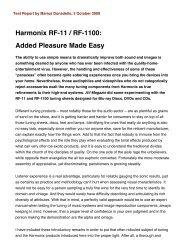 Harmonix RF-11 / RF-1100: Added Pleasure Made Easy