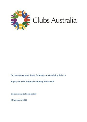 National Gambling Reform Bill 2012 and other related bills