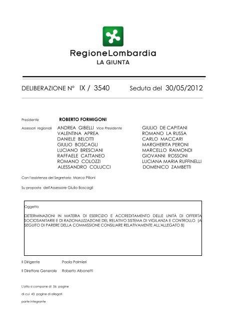 DGR 3540 del 30-05-2012 Procedure e requisiti vigilanza - Arlea