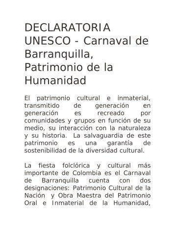 DECLARATORIA UNESCO - Carnaval de ... - Colombia Travel