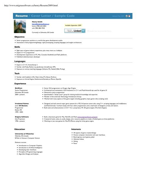 Resume / Cover Letter / Sample Code - Enigma Software - Squish ...